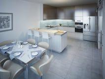 Ideia da cozinha minimalista com barra Foto de Stock Royalty Free