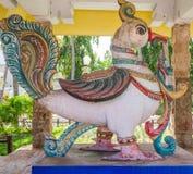 Ideia da escultura antiga do pavão, Chennai, Tamilnadu, o 29 de janeiro de 2017 Fotografia de Stock Royalty Free