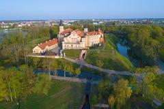 Ideia da fotografia aérea do castelo de Nesvizh Nesvizh, Bielorr?ssia fotos de stock