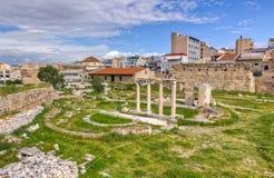 Ideia da ágora antiga de Atenas, Greece Foto de Stock