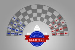 Ideia da ilustração para a eleição do prazo médio dos E.U. novembro de 2018 ilustração royalty free