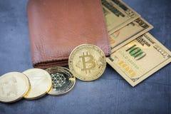 Ideia da imagem virtual do conceito do cryptocurrency fotografia de stock royalty free
