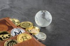 Ideia da imagem virtual do conceito do cryptocurrency imagem de stock