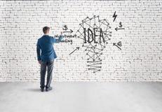 Ideia da lâmpada do desenho do homem no muro de cimento cinzento Imagem de Stock Royalty Free