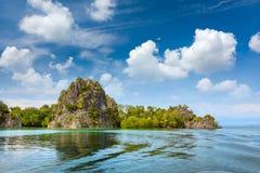 Ideia da margem do litoral da ilha, ilha pequena tropical em Indonésia imagem de stock royalty free