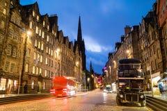 Ideia da milha real histórica, Edimburgo da rua Fotografia de Stock Royalty Free