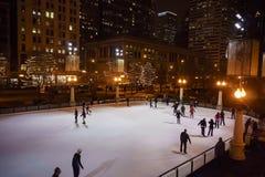 Ideia da noite da área bonita do esqui no parque do milênio, Chicago Imagem de Stock Royalty Free