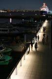 Ideia da noite da iluminação do porto de Yokohama em Japão foto de stock royalty free