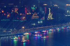 Ideia da noite de uma cerimônia de inauguração de 2010 Jogos Asiáticos Guangzhou China fotografia de stock royalty free
