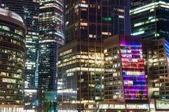 Ideia da noite do centro de negócios internacional de Moscou, igualmente referida como Moscou Fotos de Stock