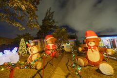 Ideia da noite do Natal bonito nos doces Cane Lane Foto de Stock