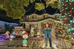 Ideia da noite do Natal bonito nos doces Cane Lane Fotos de Stock