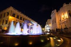 Ideia da noite do quadrado de Senado, Macau, China Imagem de Stock