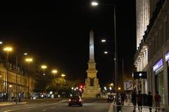 Ideia da noite do quadrado dos restauradores em Lisboa Imagem de Stock Royalty Free