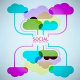 Ideia da nuvem do projeto do molde com rede social Fotos de Stock