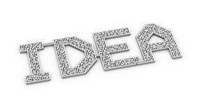 ideia da palavra 3d criada com o labirinto do labirinto do enigma Foto de Stock Royalty Free