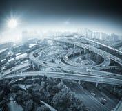 Ideia da passagem superior da cidade do fisheye Fotos de Stock