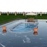 Ideia da piscina luxuoso com a tabela de madeira e as cadeiras eretas a relaxar fotografia de stock royalty free