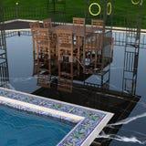 Ideia da piscina luxuoso com a tabela e as cadeiras eretas de madeira fotos de stock royalty free