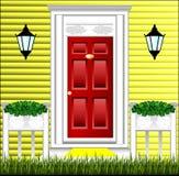 Ideia da porta da rua, um potenciômetro de flor bonito Fotografia de Stock