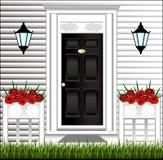 Ideia da porta da rua, um potenciômetro de flor bonito Imagem de Stock Royalty Free