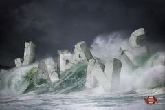 ideia da rendição 3D para a tempestade a mais forte do ano que dirige a Japão ilustração stock