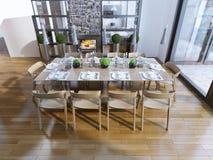 Ideia da sala de jantar com chaminé Fotografia de Stock