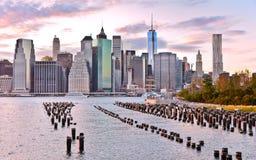 Ideia da skyline de Manhattan no por do sol Imagem de Stock