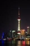 Ideia da skyline de Shanghai Pudong na noite Fotografia de Stock Royalty Free