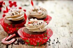 Ideia da sobremesa do menu do jantar da festa de Natal - chocolate delicioso p imagem de stock