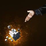 A ideia das novas tecnologias e da integração apresentou pela figura do cubo Foto de Stock