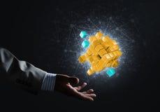 A ideia das novas tecnologias e da integração apresentou pela figura do cubo Imagem de Stock Royalty Free
