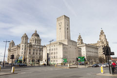 Ideia das três benevolências em Pier Head, Liverpool, Reino Unido Fotografia de Stock Royalty Free