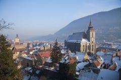 Ideia de Brasov de partes superiores do telhado da torre Foto de Stock