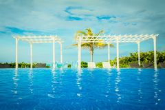 Ideia de convite de Orgeous da área de piscina dourada do hotel da tulipa perto da praia Fotos de Stock