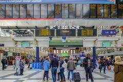 Ideia de Interiror da estação de mainline da rua de Liverpool perto do DES fotografia de stock royalty free
