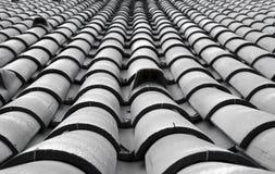 ideia de perspectiva tonificada monocromática de fileiras de sobreposição curvadas tradicionais do estilo português de telhas de  imagens de stock royalty free