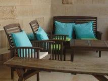 Ideia de um interior do balcão em um terraço aberto de uma sala da casa de verão fotos de stock royalty free