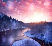 Ideia de uma paisagem bonita do inverno fotografia de stock royalty free