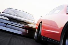 Ideia dianteira da competência de carros de corridas da auto competência dos esportes automóveis em uma trilha com profundidade d ilustração do vetor