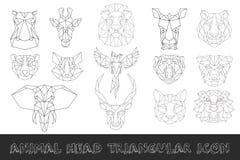 Ideia dianteira do grupo triangular principal animal do ícone Imagens de Stock Royalty Free