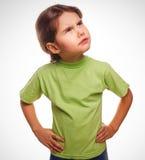 A ideia do adolescente da criança da moça pensa a vista acima Imagem de Stock Royalty Free
