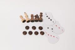 A ideia do close up da vária placa e do outro jogo do lazer figura Fotografia de Stock