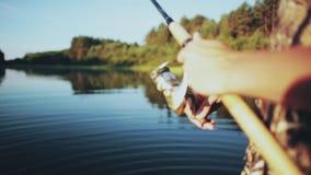 Ideia do close-up das mãos masculinas que guardam a vara de pesca Homem novo de Fisher que torce a haste com carretel de giro video estoque
