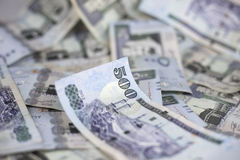 A ideia do close-up de cinco cem Riyal, Riyal do saudita nota o backgroun Imagens de Stock Royalty Free