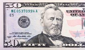 Ideia do close-up de uma conta de Tesouraria de um Estados Unidos de 50 dólares Foto de Stock