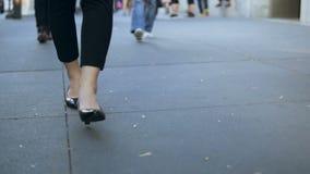 Ideia do close-up do passeio fêmea novo através da baixa Mulher de negócios que veste sapatas pretas com saltos Movimento lento filme