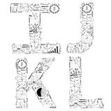Ideia do conceito do plano da estratégia empresarial do desenho de letras do alfabeto Imagem de Stock