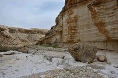 Ideia do ` de Wadi Murabba na garganta, deserto de Judean, Israel, Médio Oriente Fotografia de Stock