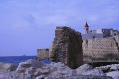 Ideia do fnd do mar à cidade antiga de Israel - acre Imagens de Stock